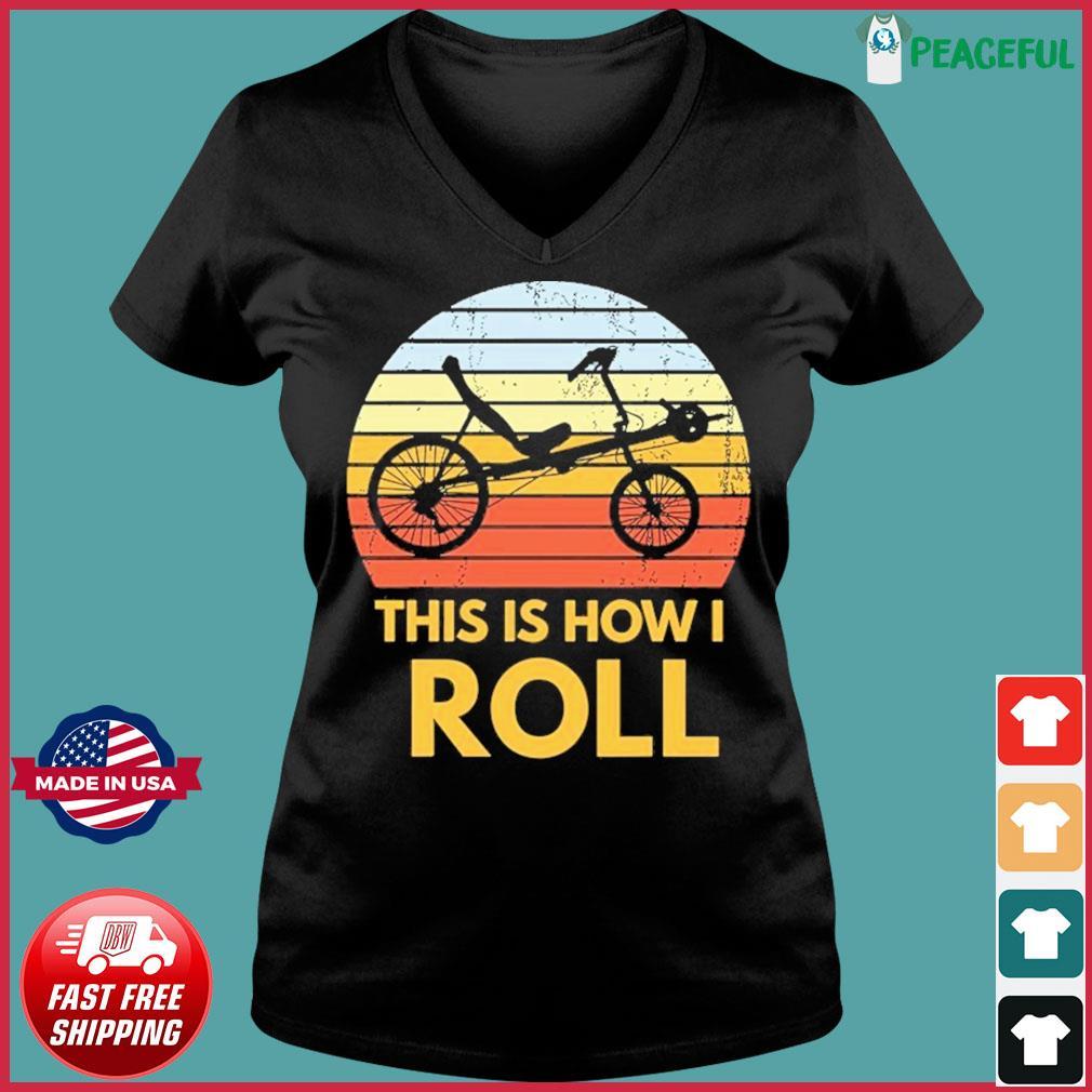 Bike This Is How I Roll Vintage Retro Shirt Ladies V-neck Tee