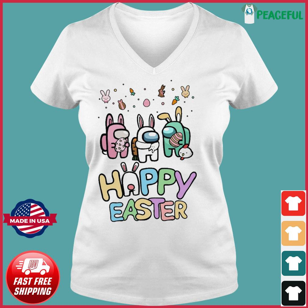 Cute Among Us Happy Easter Shirt Ladies V-neck Tee