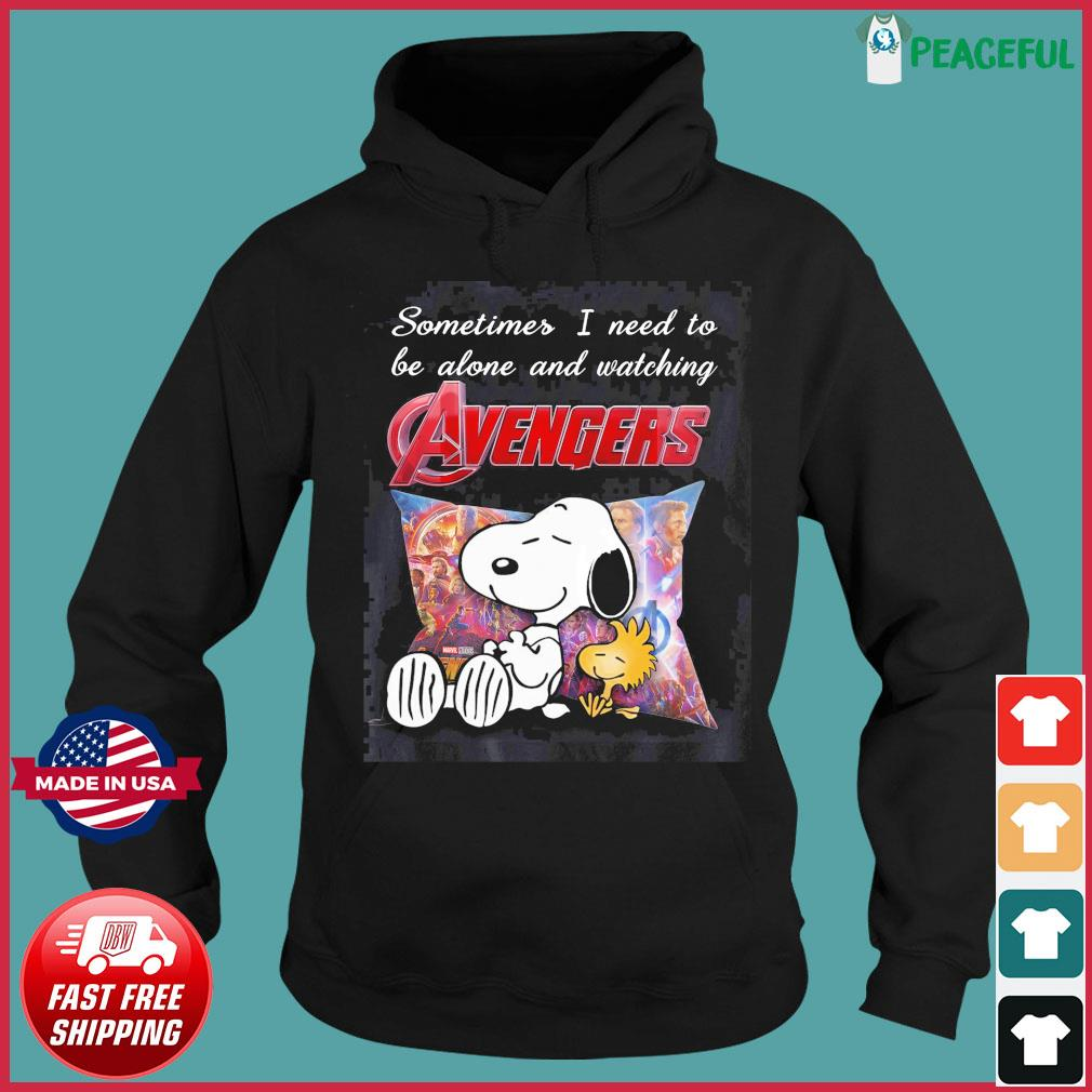Snoopy And Woodstock Sometimes I Need To Be Alone And Watching Marvel Avengers Shirt Hoodie