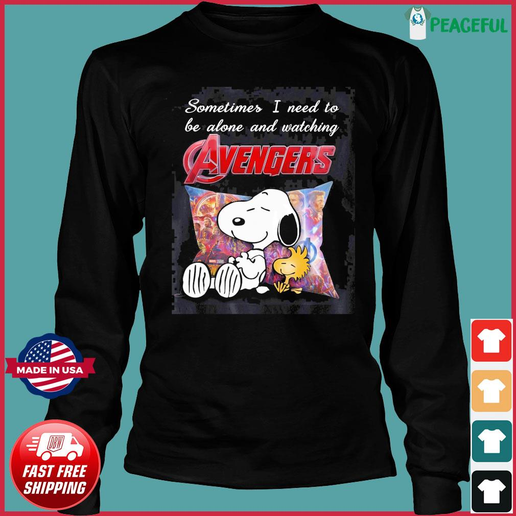 Snoopy And Woodstock Sometimes I Need To Be Alone And Watching Marvel Avengers Shirt Long Sleeve