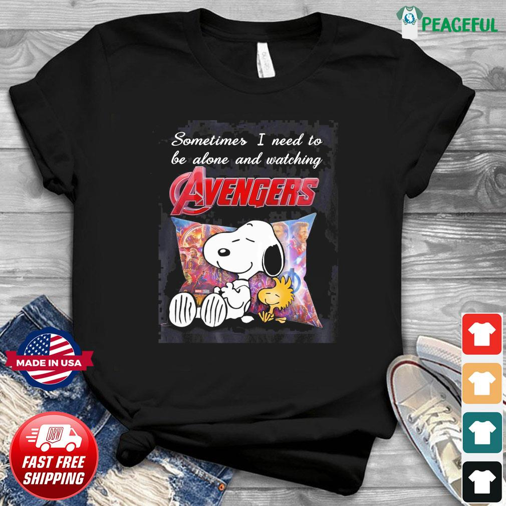 Snoopy And Woodstock Sometimes I Need To Be Alone And Watching Marvel Avengers Shirt