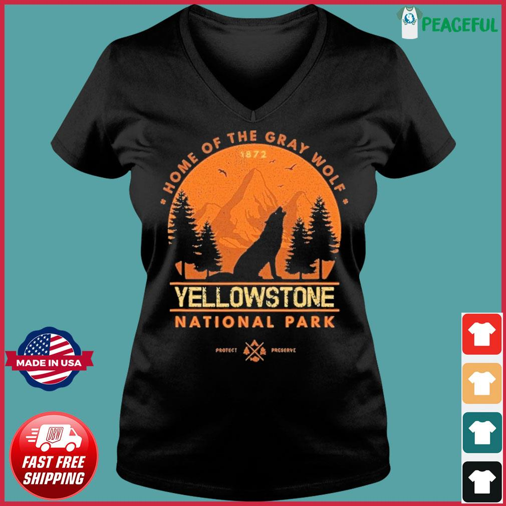 The Yellowstone National Park Home Of The Gray Wolf Shirt Ladies V-neck Tee