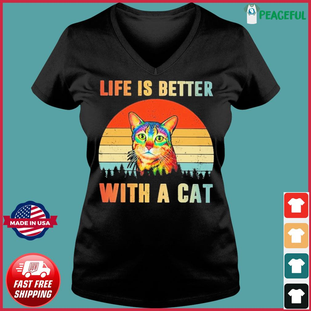 Vintage Retro Life Is Better With A Cat Shirt Ladies V-neck Tee