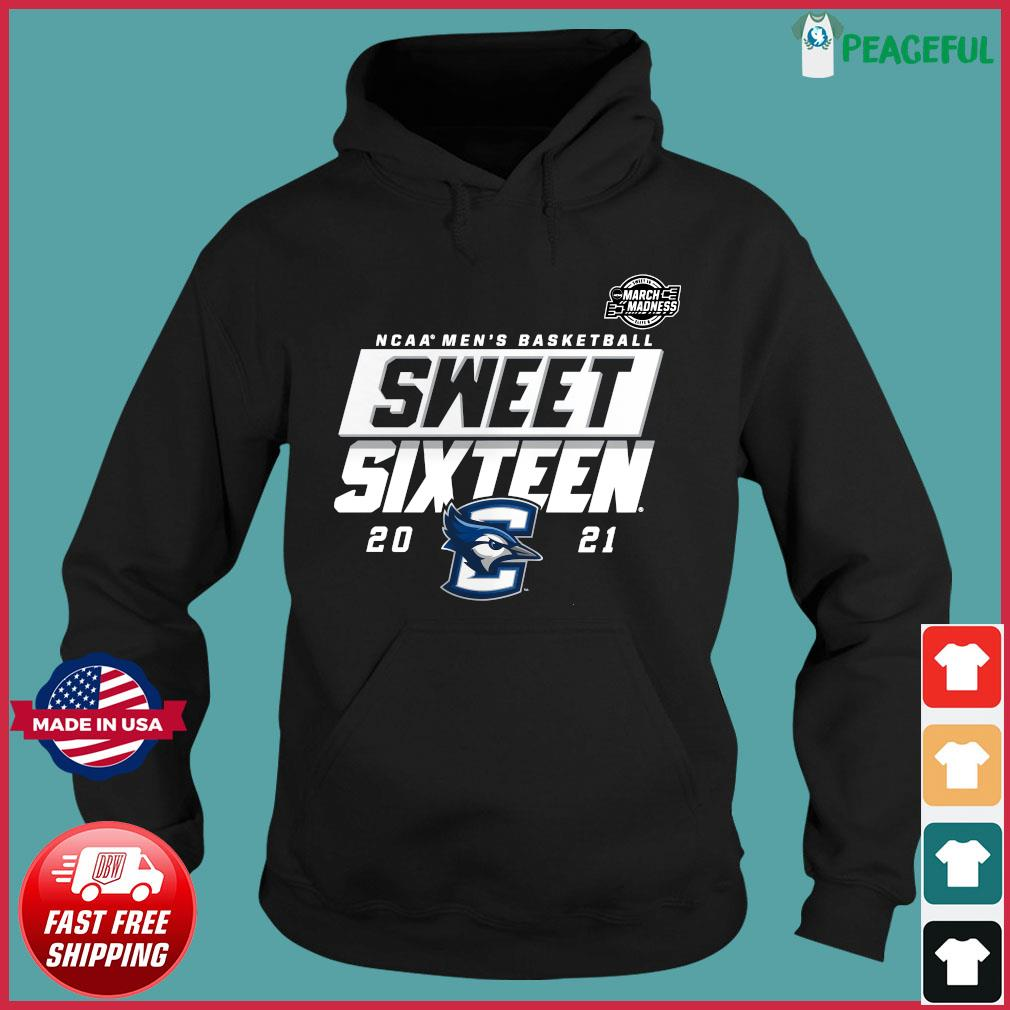 Official Creighton Bluejays 2021 NCAA Men's Basketball Tournament March Madness Sweet 16 Bound High Post T-s Hoodie