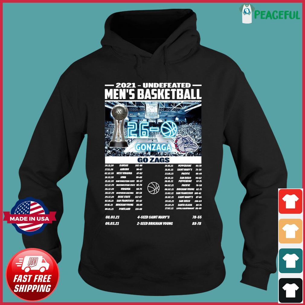 Official Gonzaga Bulldogs Champions 2021 Undefeated Men's Basketball Regular Season Shirt Hoodie