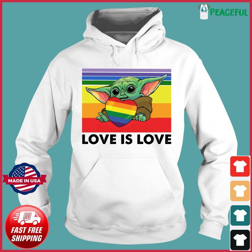 Official Star Wars Baby Yoda Hug Heart LGBT Love Is Love Vintage Shirt Hoodie