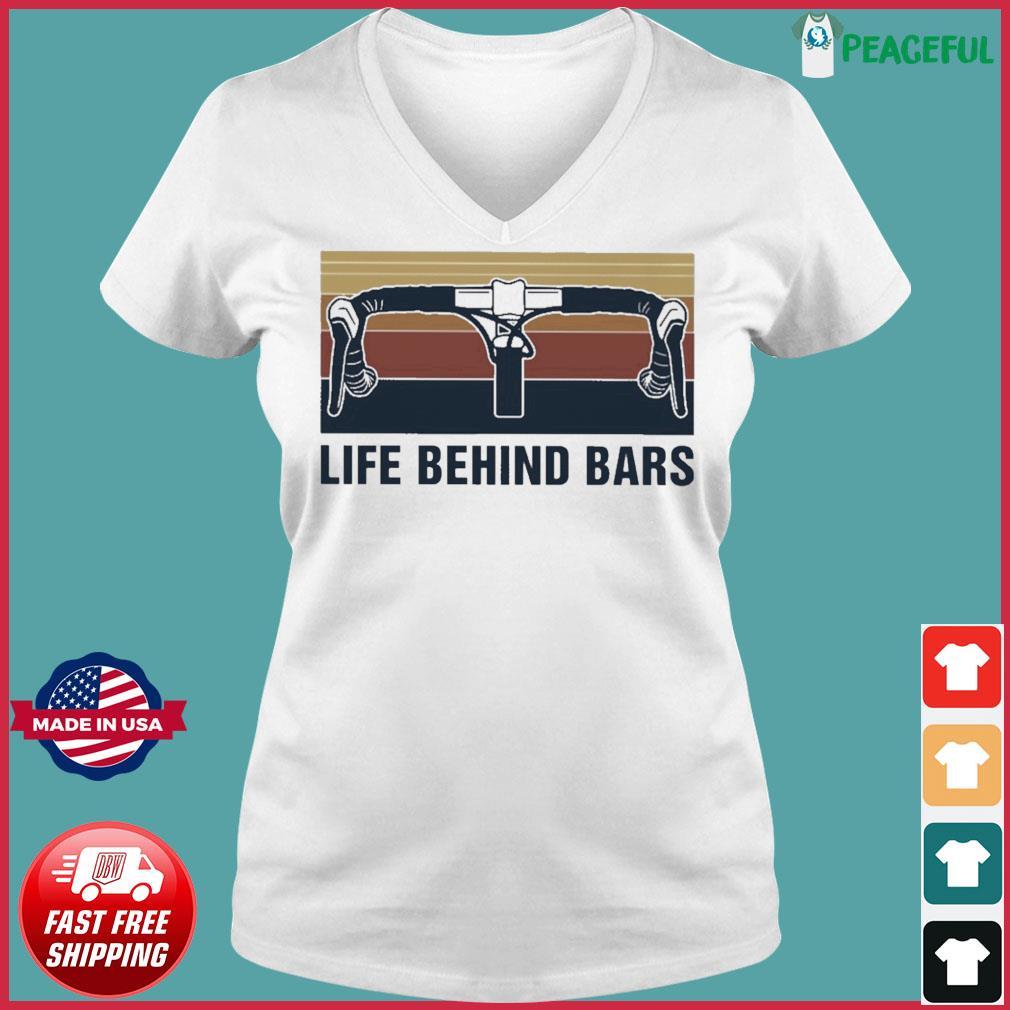 Official Vintage Cycling Life Behind Bars Shirt Ladies V-neck Tee