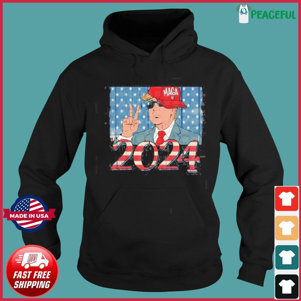 donald trump 2024 american flag s Hoodie