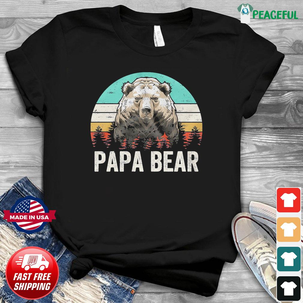 Official Vintage Retro Papa Bear - Happy Father's Day 2021 Shirt