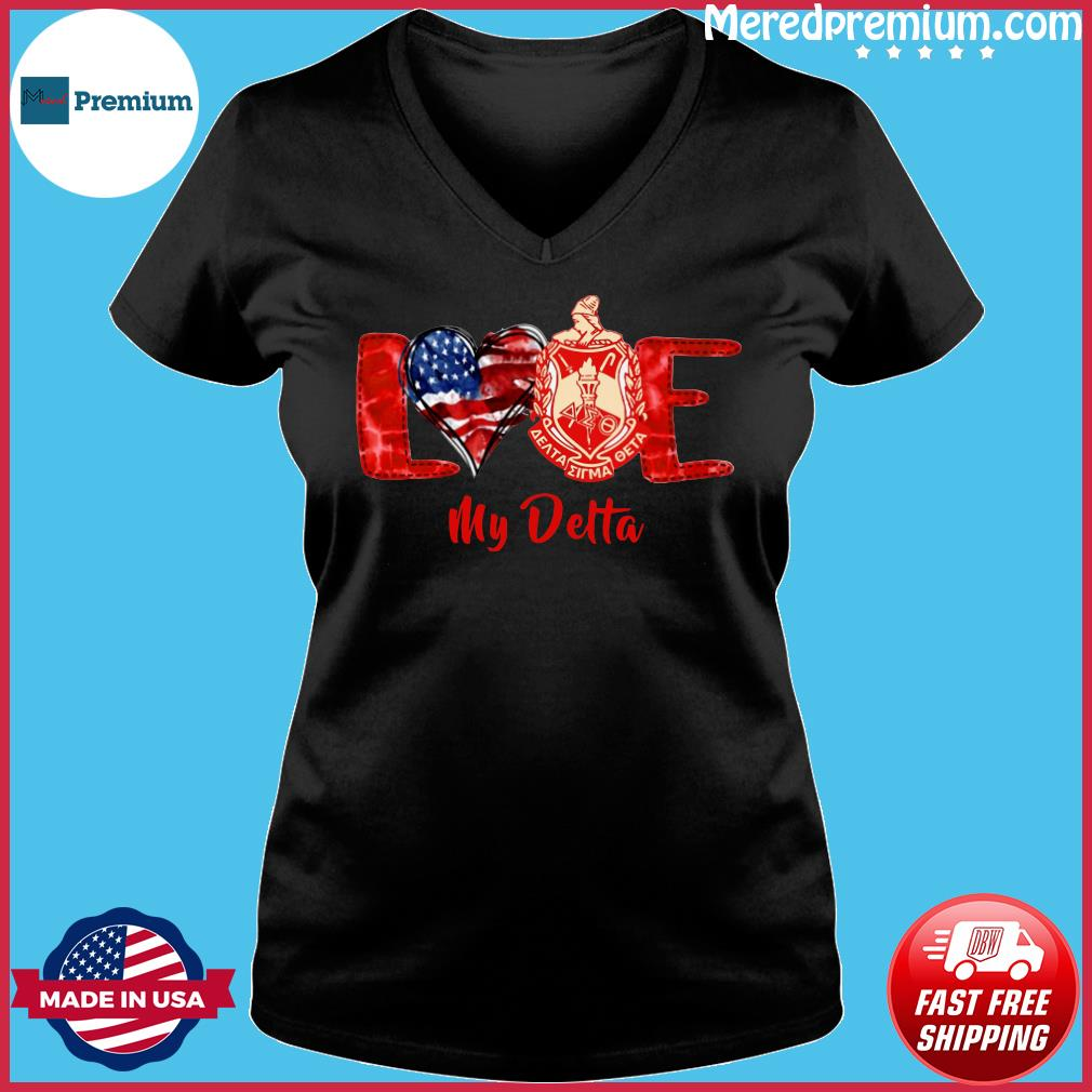 Love Heart American Flag Delta Sigma Theta Shirt Ladies V-neck