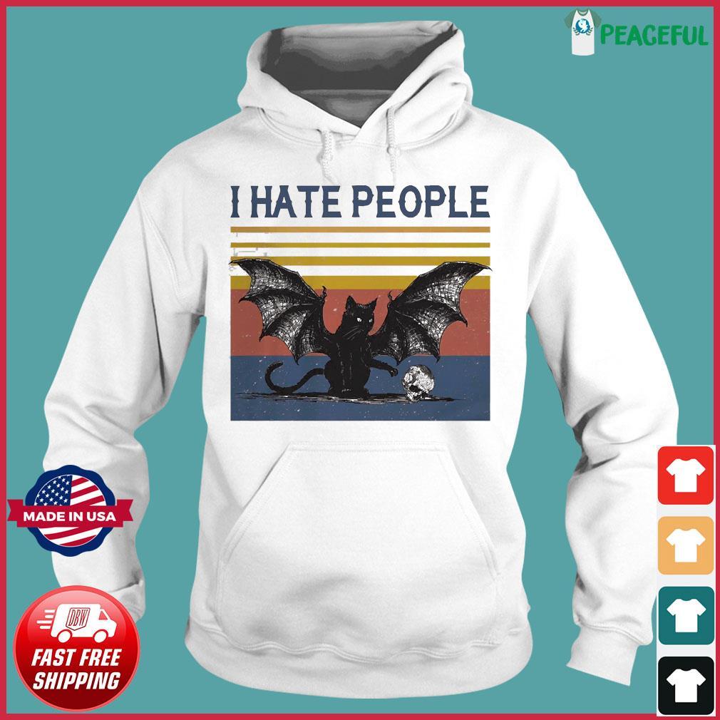I Hate People Batcat vintage Shirt Hoodie