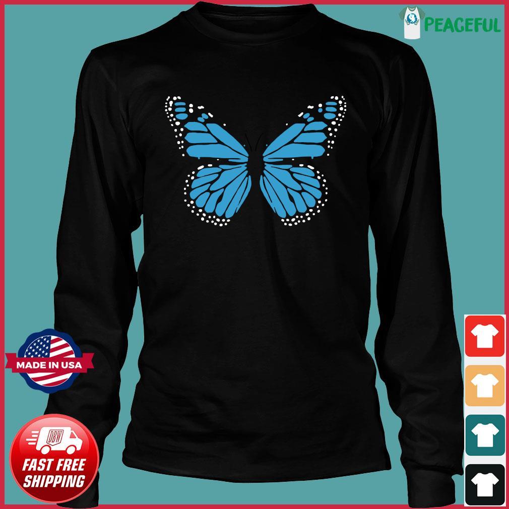 Blue Butterfly Fashion Emoji Icon Style Shirt Long Sleeve