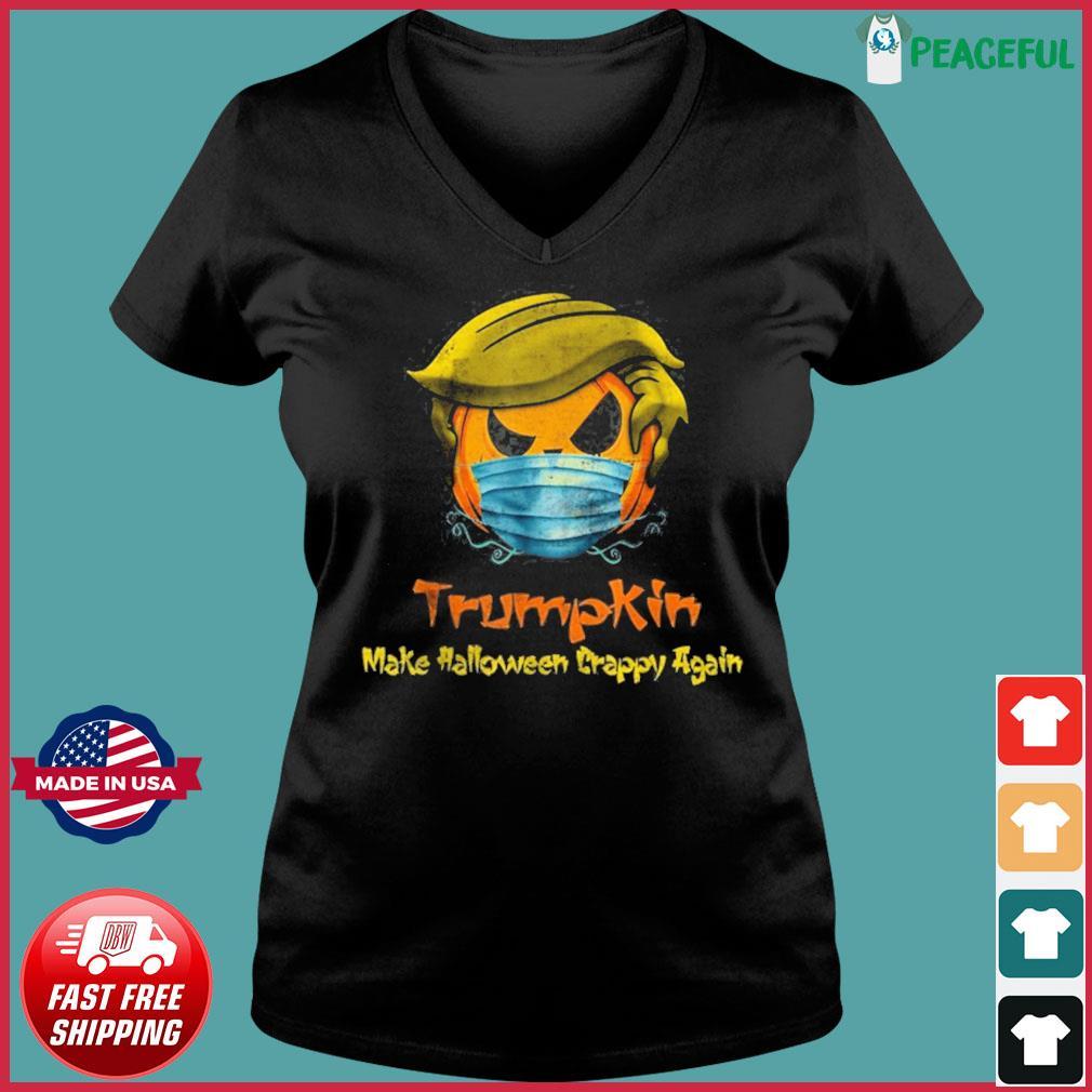 Halloween Trumpkin Covid Funny T-Shirt Ladies V-neck Tee