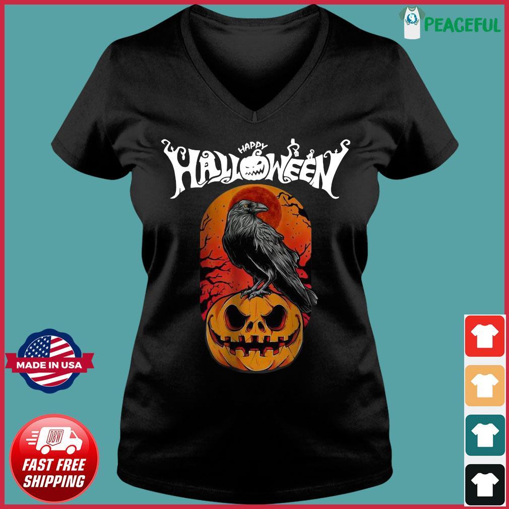Raven happy Halloween s Ladies V-neck Tee