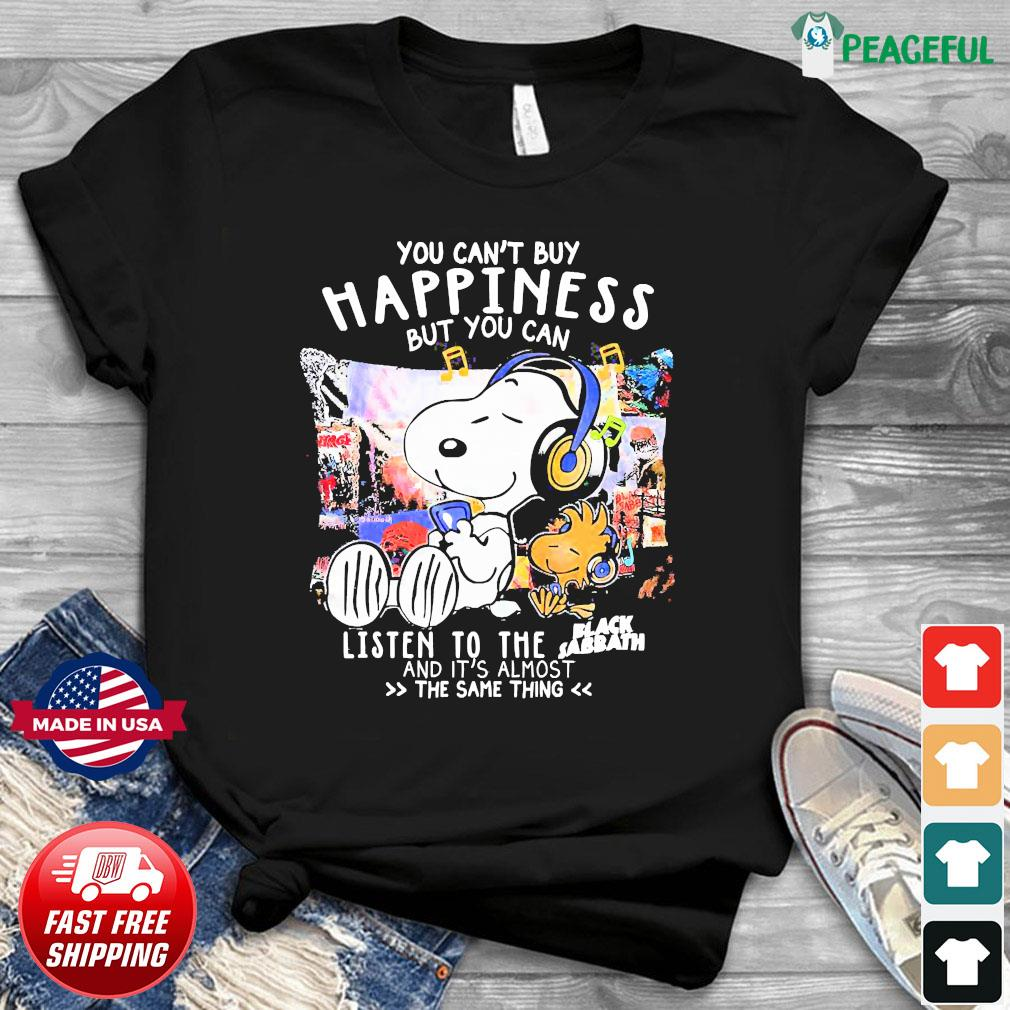 Snoopy You Can't Buy Happiness But You Can Listen To The Black Sabbath Shirt