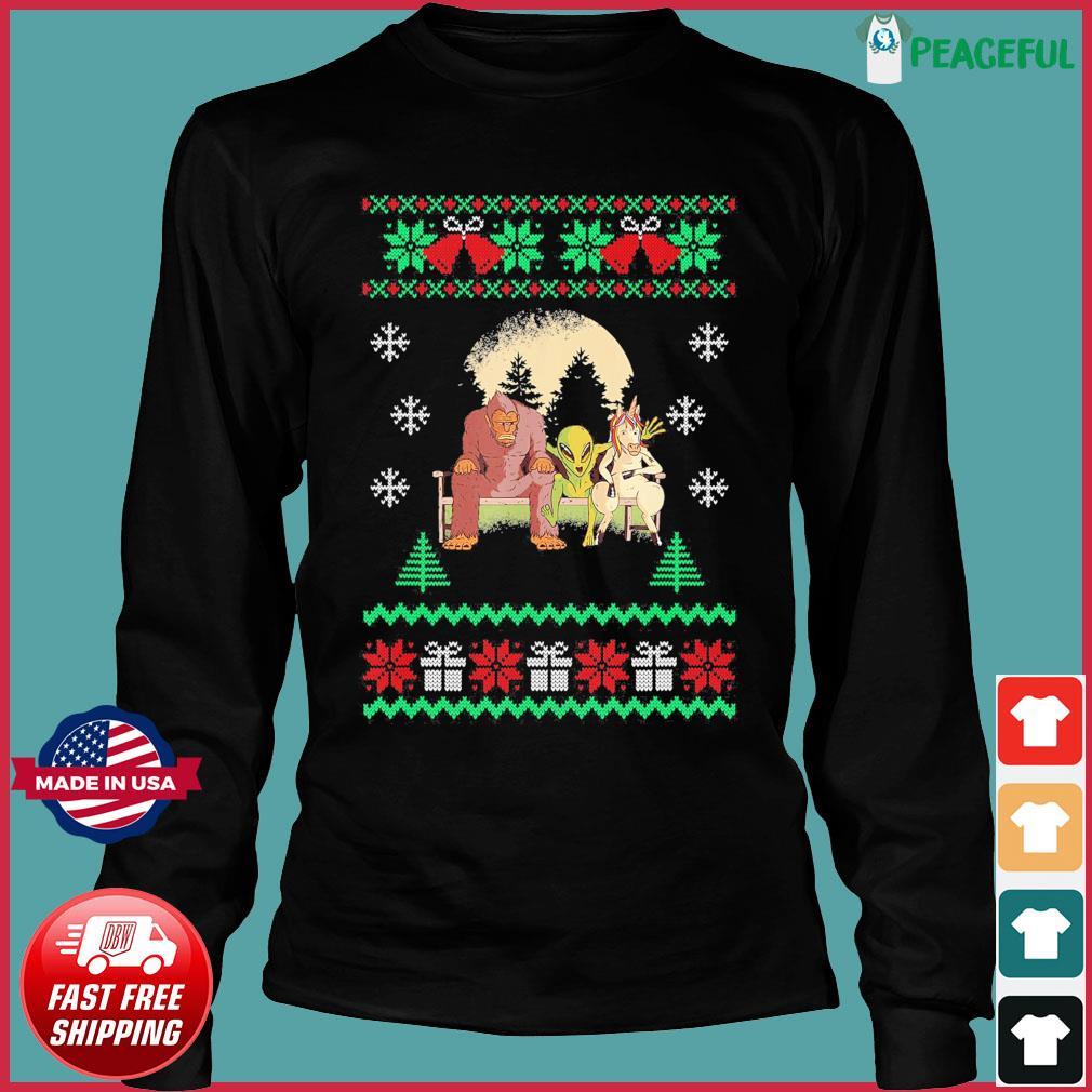 Bigfoot Unicorn Alien 2020 Ugly Christmas Sweats Long Sleeve
