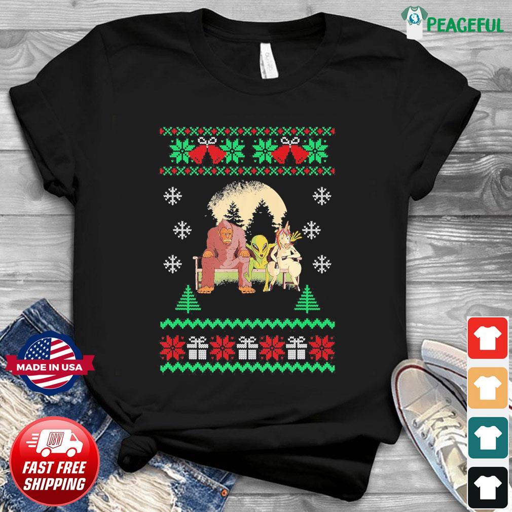 Bigfoot Unicorn Alien 2020 Ugly Christmas Sweatshirt