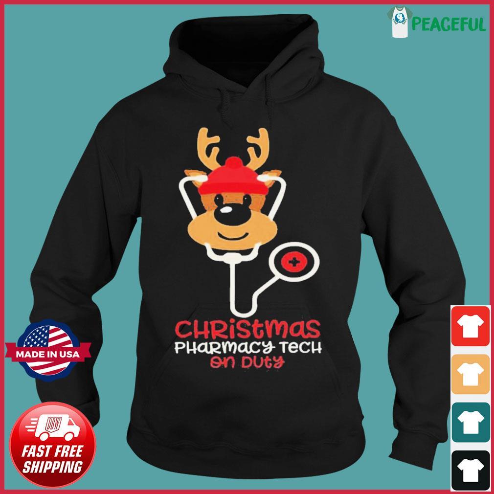Christmas Pharmacy Tech On Duty Reindeer Nurse s Hoodie