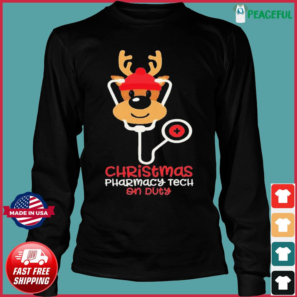 Christmas Pharmacy Tech On Duty Reindeer Nurse s Long Sleeve