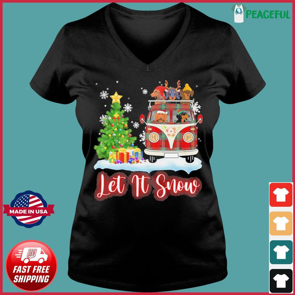 Dachshund Driver Let Is Snow Christmas Sweats Ladies V-neck Tee