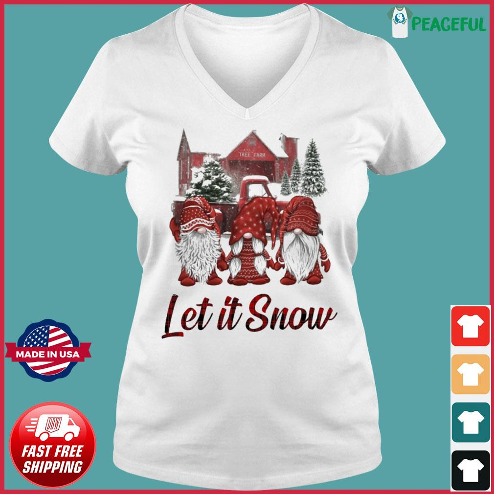 Gnomes Let It Snow Christmas Sweats Ladies V-neck Tee