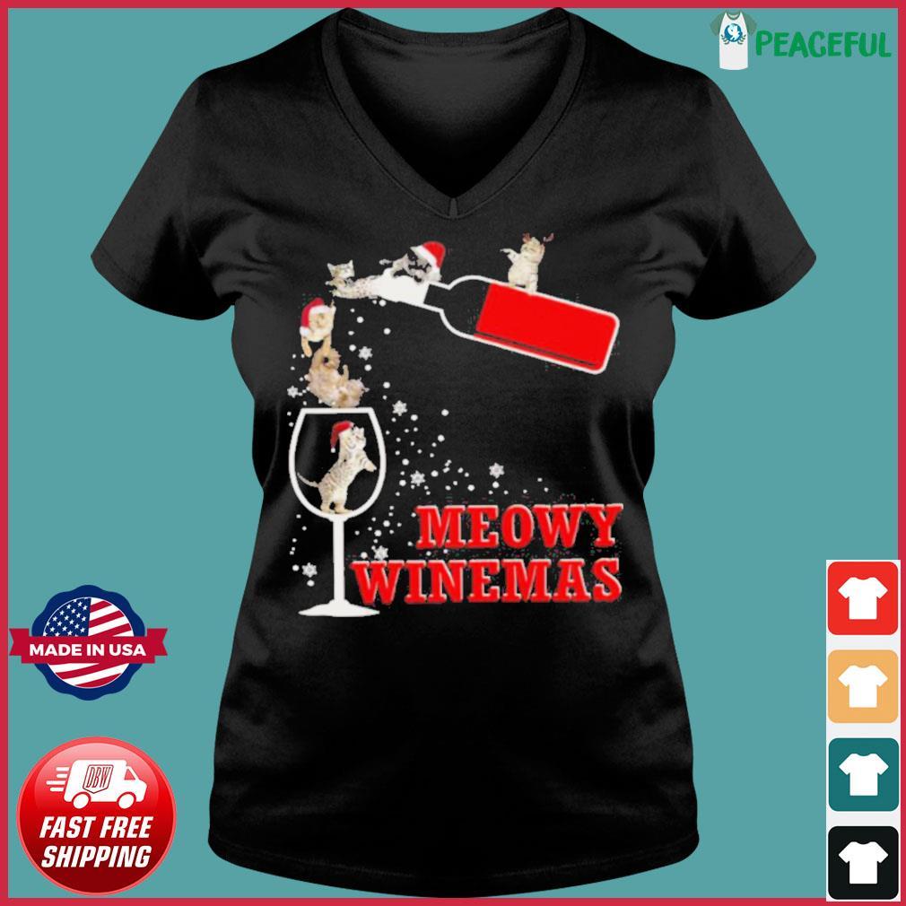 Meowy Winemas Christmas s Ladies V-neck Tee