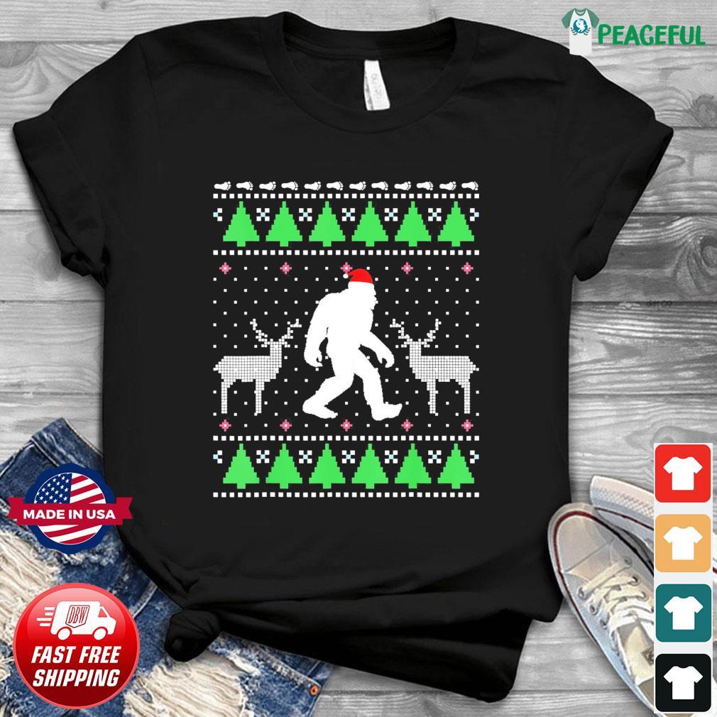 Santa Bigfoot And Reindeer 2020 Ugly Christmas Sweatshirt
