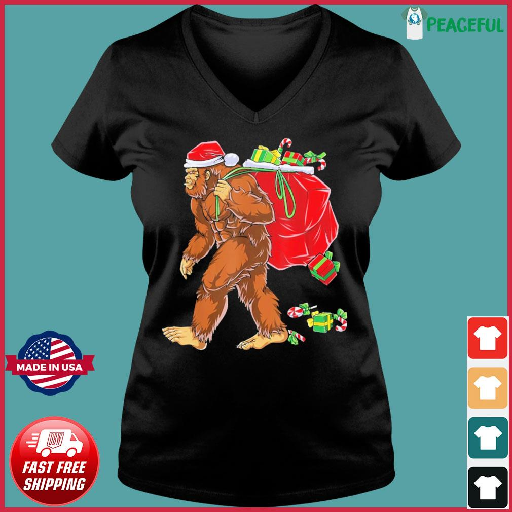 Santa Bigfoot Christmas Sweats Ladies V-neck Tee