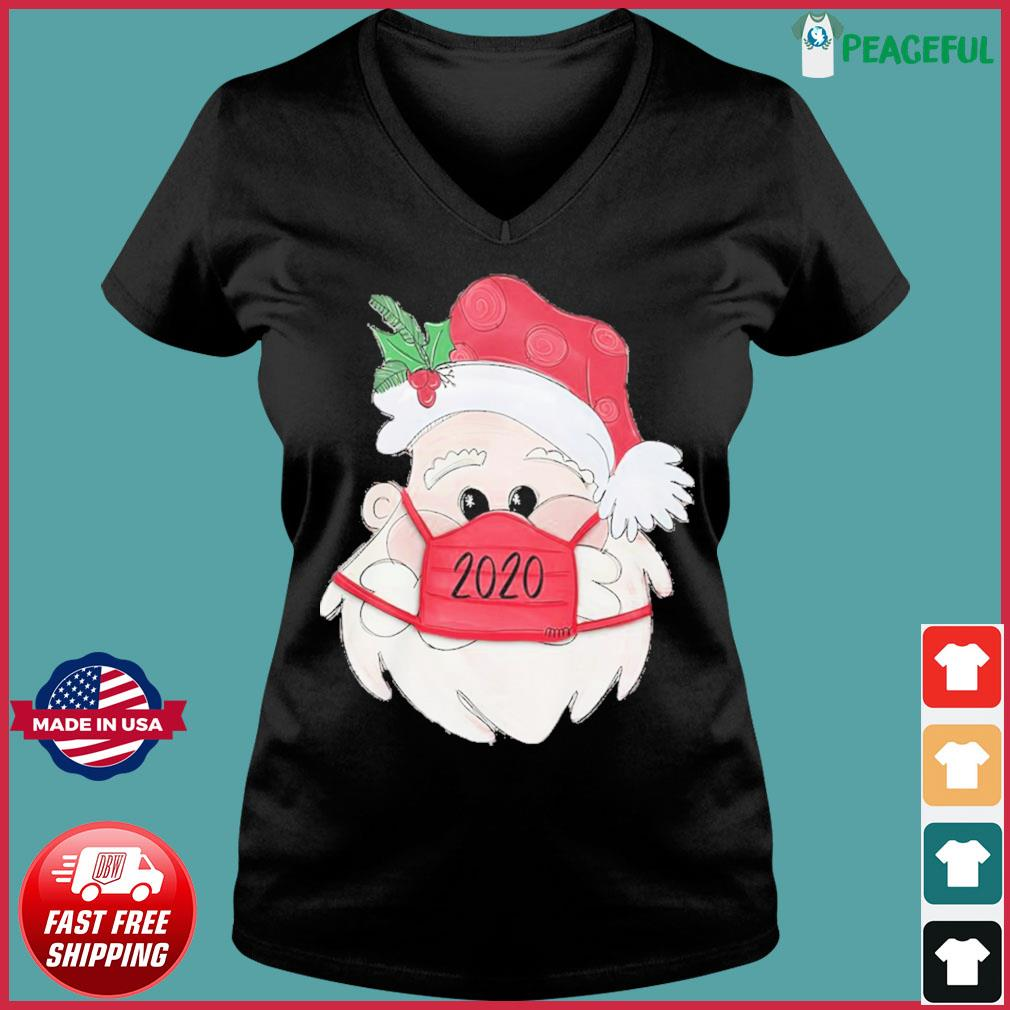 Santa Claus Face Mask 2020 Christmas Sweats Ladies V-neck Tee