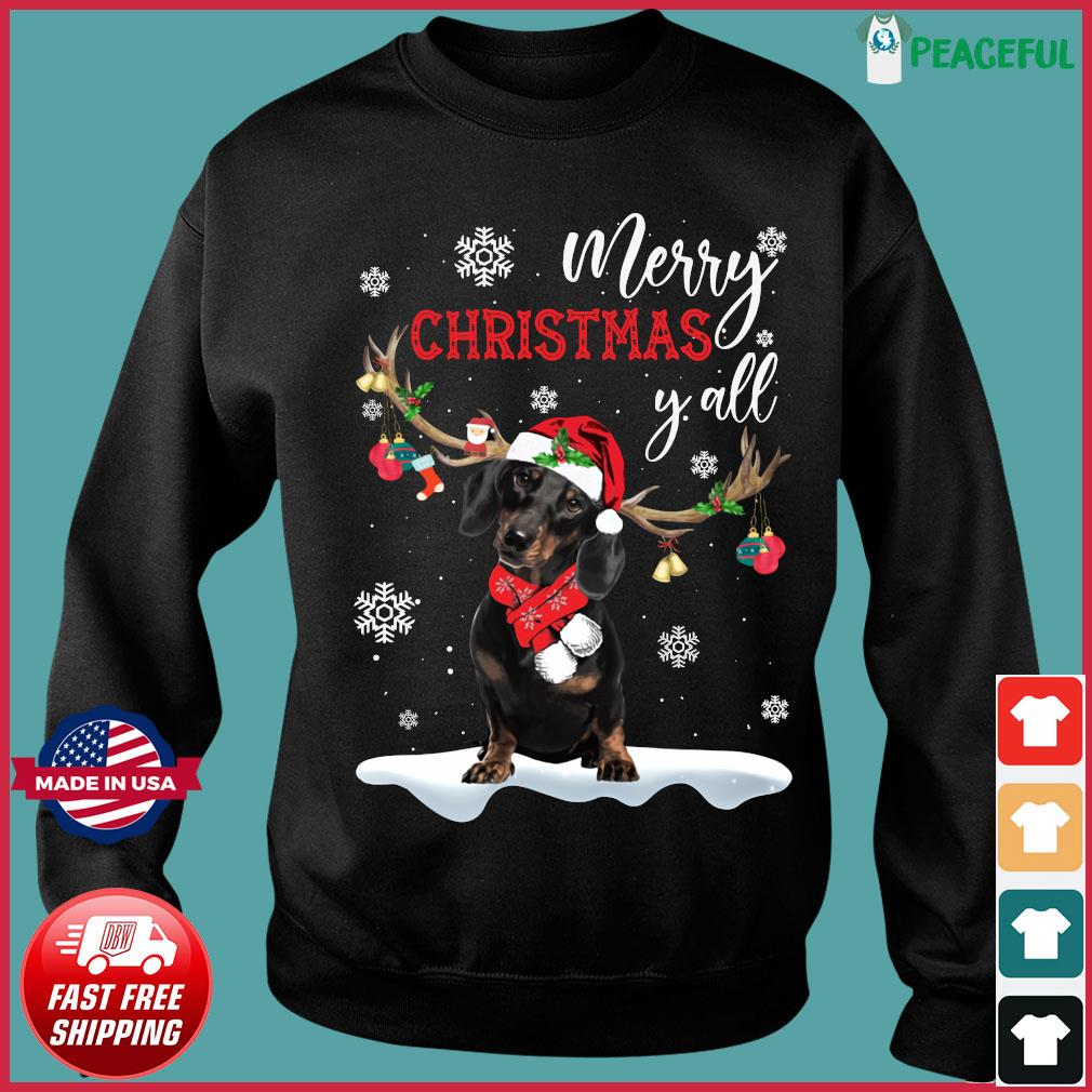 Dachshund Santa Reindeer Merry Christmas Y'all Sweatshirt