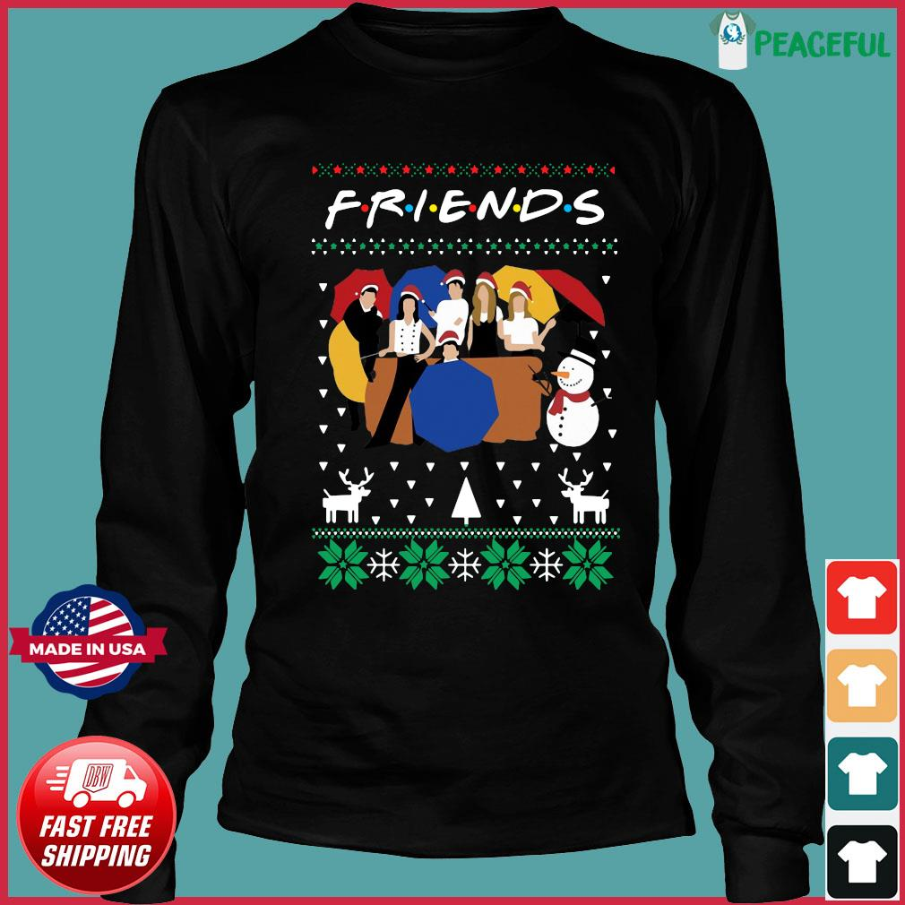 Friends And Snowman Christmas Ugly Sweats Long Sleeve