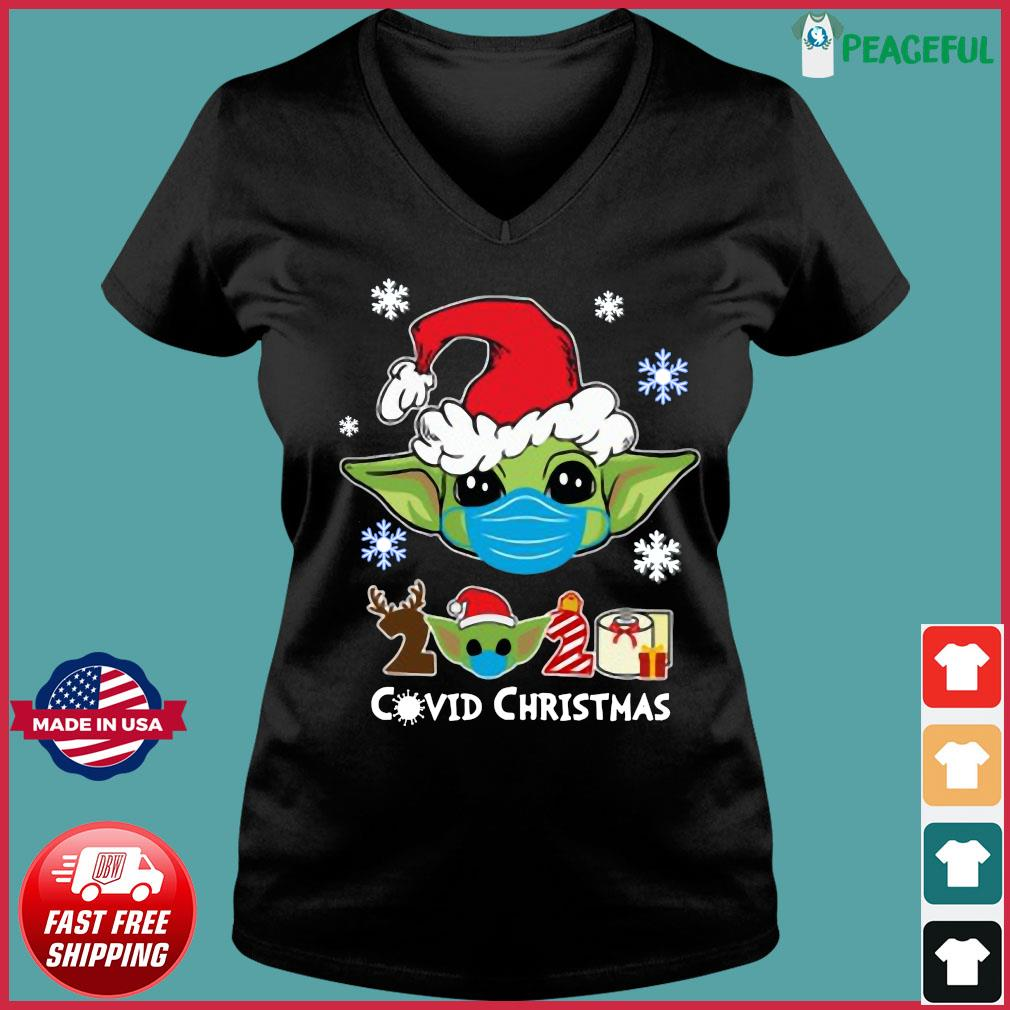Santa Baby Yoda Face Mask 2020 Toilet Paper Covid 19 Christmas Sweats Ladies V-neck Tee