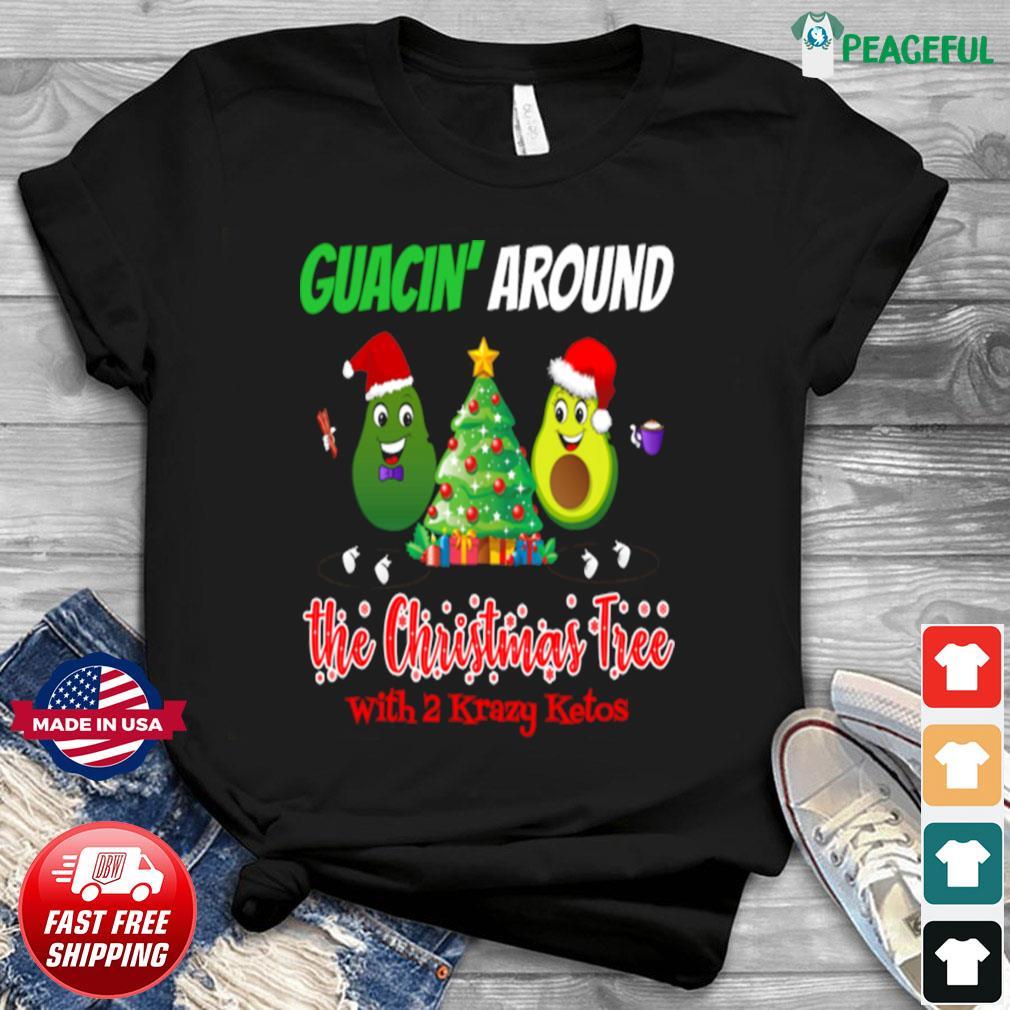 Guacin around the Christmas tree with 2KK shirt