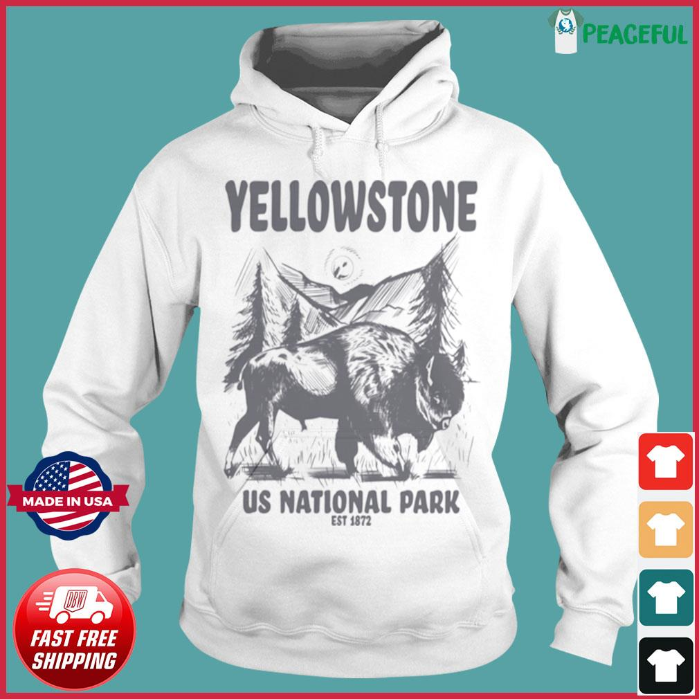 Yellowstone US National Park 1872 Bison Mountain Landscape s Hoodie
