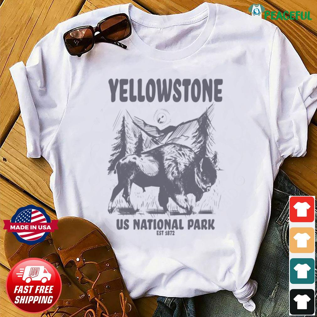 Yellowstone US National Park 1872 Bison Mountain Landscape s Shirt
