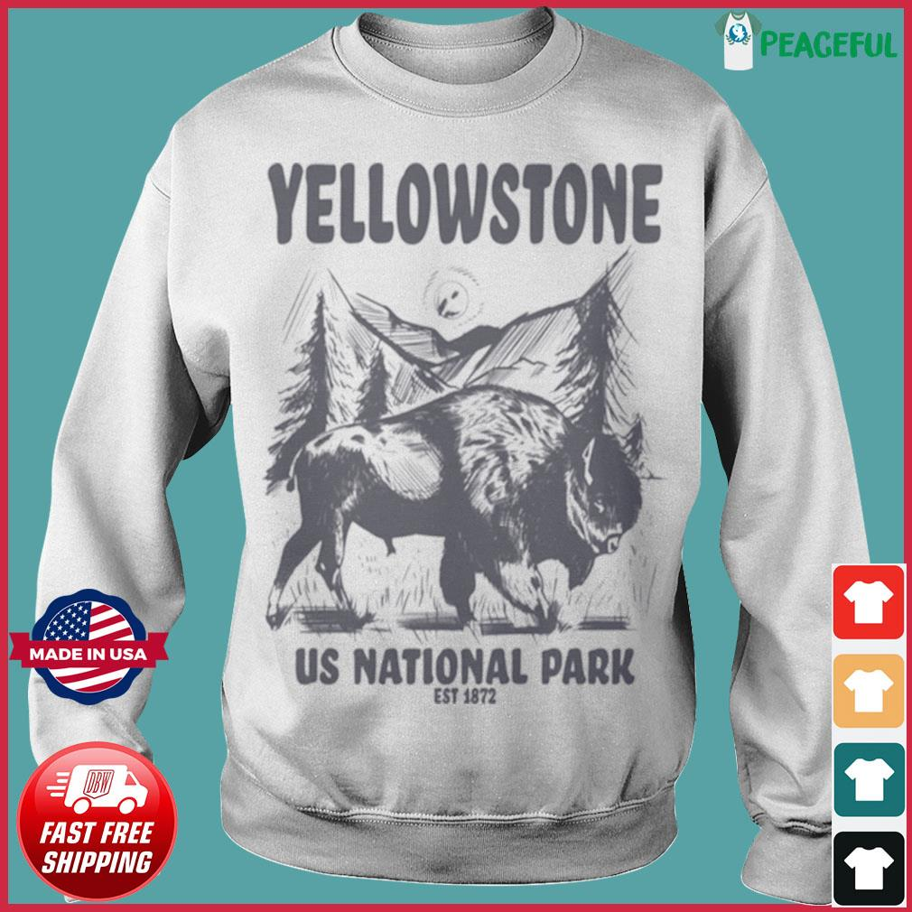 Yellowstone US National Park 1872 Bison Mountain Landscape shirt